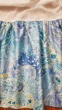 "Ralph Lauren Twin Jamaian Blue Paisley Bed Skirt 15"" Drop Blue Yellow White"