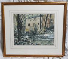Original Watercolour - Alix Baker - Wadi Bani Khalid, Oman - Mounted and Framed