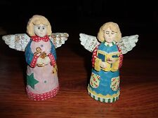 "PAIR OF RESIN ANGELS HOME DECOR PERFECT CONDITION 5"" TALL"