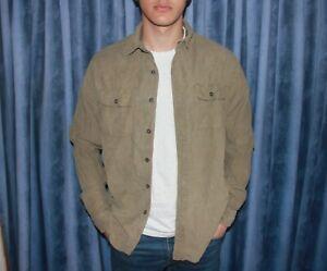 Mens vintage corduroy shirt, fits mens large - In khaki brown.