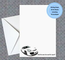 White Porsche  Writing Note Paper With Envelopes Handmade - 'I feel the need'