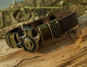 Unisex Metal Skull Leather Bracelet Jewelry For Man Woman  Adjustable Buckle