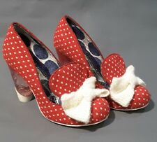 Irregular Choice High Heel Shoes Red with White Knitted Bow Size UK 3.5 - 36