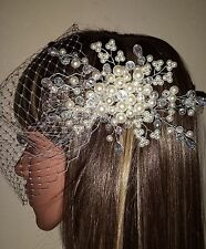 """Brides Ivory 9"""" birdcage bandeau wedding veil with pearl and crystal comb."""