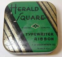 Rare GREEN Vintage 30s HERALD SQUARE GRAPHIC TIN WOOLWORTH TYPEWRITER TIN LITHO