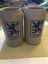 2 Vintage German Stoneware Beer Stein Mug Salt Glaze Löwenbräu Munich 1 Liter