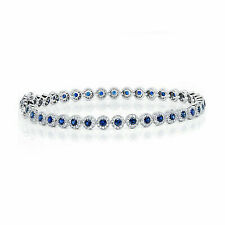 Allurez Round Blue Sapphire & Diamond Tennis Bracelet 14k White Gold