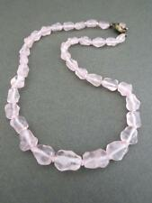 Vintage Chinese Rose Quartz Necklace Silver Filigree Clasp