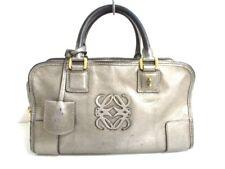 Auth LOEWE Amazona Silver Leather Handbag