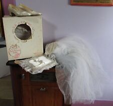 Vintage Wedding Bridal Veil with Bridal Shoes and Ring Bearer Pillow orig box