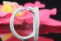 5.50 Ct Micro Pave Inside Out Three-Row Diamond Hoop Earrings 14k White Gold GP