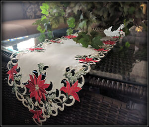 """Mantel Dresser Scarf Christmas Red Poinsettia Shelf Runner Doily 64"""" x 10.5"""""""