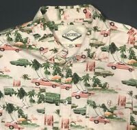 Hawaiian Mens XL 2XL Shirt Vtg Cars Thunderbird Flamingo Surfboard Tropical