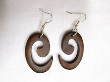 NEW RICH DARK BROWN WOOD TRIBAL SPIRAL WAVE DESIGN ELEMENTAL SYMBOL EARRINGS