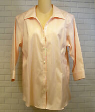 Eddie Bauer Stretch Wrinkle Resistant Peach Striped Button Front Blouse Size XL