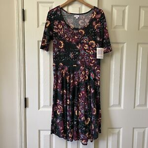 LulaRoe Nicole Womens Dress 2XL XXL Black Pink Paisley Full Swing Skirt NWT New