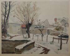 André DESLIGNIERES (1880-1968) Paysage enneigé aquarelle Nièvre Nevers VAL OISE