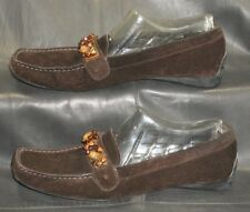 Stuart Weitzman brown suede closed toe loafers slip on Women's shoes size US 9N
