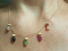 5ct oval nugget Ruby Emerald Sapphire 14k gold necklace mixed gemstone