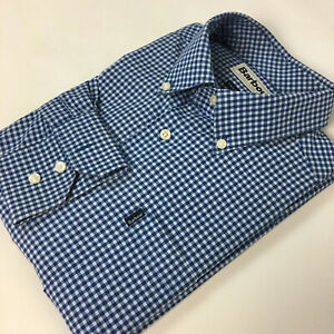 Barbour Button Down Shirt M Gingham Check Blue White Tailored Fit Cotton