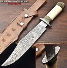 Cutlery Salvation Rare Custom Handmade Damascus Hunting Bowie Knife   CAMEL BONE
