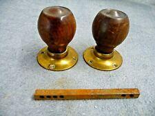 Antique Pair Edwardian Hardwood+Brass Round Door Handles On Brass Back Plates
