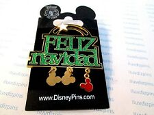 FELIZ NAVIDAD Dangle Sparkle Disney 3D Movement NEW On CARD Mickey Head Icon Pin
