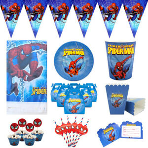 Spider Man Party Tableware Birthday Deco Supplies Plates Cups Straws Flags Cloth