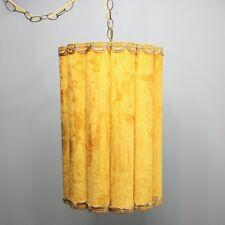 "Vintage 19"" Swag Hanging Lamp Gold Crushed Velvet Scalloped Drum Shade Light"