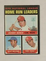 1971 Topps #66 NL Home Run Leaders Johnny Bench/ Williams/ Perez EX