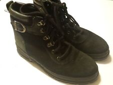 SPORTO Size 6 M Black Nubuck Leather Lined Lace-Up Ankle Boots