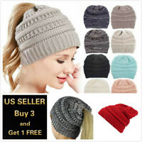 Women BeanieTail Messy Soft Stretch Winter Warm Pony Tail Beanie Hat Knit Cap