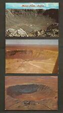 3 POSTCARDS:  METEOR CRATER - near ROUTE 66 - WINSLOW , ARIZONA - Unused, 1950s