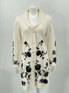 Susan Graver Womens Long Cardigan Sweater Small Cream Black Floral Embroidered