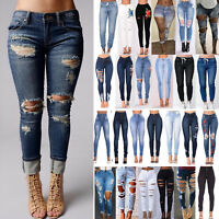 Women Ripped High Waist Skinny Jeans Distressed Stretch Fit Denim Pants Trousers