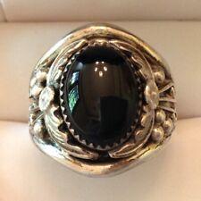 ~ Vintage Signed  Navajo Men's Onyx Southwest Sterling Silver Ring Size 14