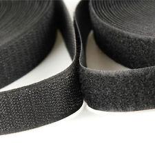 "5 metros X 25 mm = 1"" Negro Hook & Loop Velcro Coser En Gancho y bucle de 5 M 5 M"