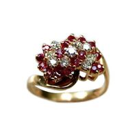 Summer Sale 1/2 Ct Round Ruby & Diamond 14k Gold Over Cluster Engagement Ring
