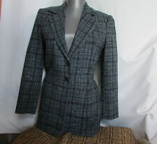 New nwot mina custom tailor seoul korea wool blue plaid fitted blazer 0 or 2