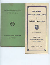 (5) 1937-1954 MICHIGAN STATE FEDERATION OF WOMEN'S CLUBS CONVENTION PROGRAMS