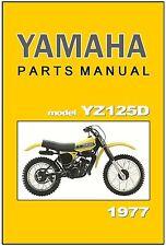 YAMAHA Parts Manual YZ125 YZ125D 1977 VMX Replacement Spares Catalog List