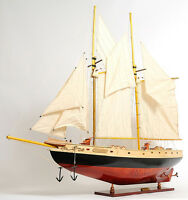 "Schooner Bluenose II Wooden Sailing Ship Model 47"" Sailboat Fully Assembled New"