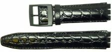 New 17mm (20mm) Genuine Leather Croco Grain Replacement Strap for Swatch® Black.