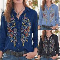 ZANZEA Women's Long Sleeve Embroidery Shirt Tops Denim Blue Loose Lapel Blouse