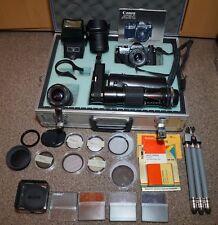 Canon ae1 NERO SLR fotocamera analogica con pacchetto accessori