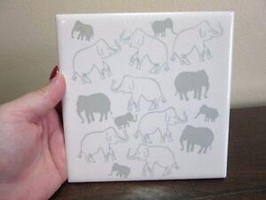 MOSAIC ceramic 6 x 6 tile. White & gray elephants
