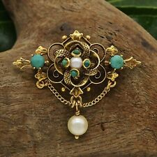 14k Yellow Gold Antique Ornate Turquoise & Pearl Brooch/Pendant