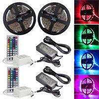 2 x 5M RGB 5050 LED Strip light SMD 44 Key Remote 12V US Power Supply Full Kit