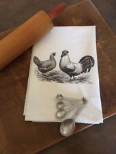 Flour sack cotton dishtowel farmhouse country funny Kitchen chickens rooster