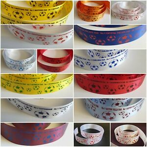 No 1 Football Fan Ribbon Any team, Your team colours. 25mm wide Various Lengths